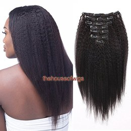 Wholesale Extensions Clips Remy - Kinky Straight Clip in Human Hair Extensions Natural Brazilian Remy Hair Clip-in Full Head 7Pcs Set Free Shipping