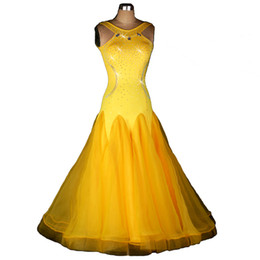 Wholesale Tango Dresses For Women - 2017 New Customized Big Hem Yellow Ballroom Dancing Dress for Women Shinning Rhinestones Waltz Tango Dress Patchwork Spandex with Sheer