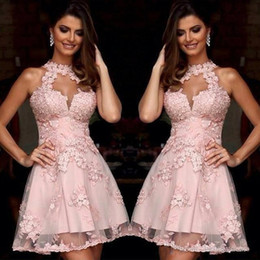 Wholesale Sky Blue Semi Formal Dresses - Semi Formal Cocktail Dresses 2017 Illusion High Neck Blush Pink Lace Homecoming Dresses Sheer Neck Short Prom Party Gowns Sleeveless