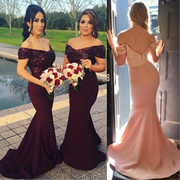 Wholesale Sparkled Top Dress - 2017 Burgundy Off the Shoulder Mermaid Long Bridesmaid Dresses Sparkling Sequined Top Wedding Guest Dresses Blush Pink Maid of Honor Gowns