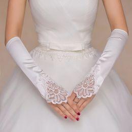 Wholesale Cheap Fingerless Gloves For Women - Fingerless Long Wedding Gloves Beads Satin Elbow Length Finger Bridal Gloves For Women Simple One Size Cheap Wedding Accessories