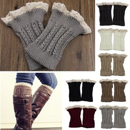 Wholesale Womens Lace Boot Socks - Womens Leg Warmers Cycling Leg Warmers Fashion Womens Crochet Knit Lace Trim Leg Warmers Cuffs Toppers Boot Socks Leggings
