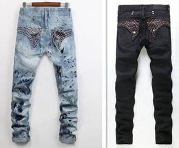 2019 lavagem de cristal Novos homens Robin Jeans Denim Calças com Cristal Studs Flap Bolsas Asas Clipe Washed Designer Cowboy Jeans us tamanho 28-38 lavagem de cristal barato