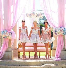 Wholesale Short Cheap Stylish Dresses - Princess Stylish Short Bridesmaid Dresses for Wedding Party Cheap Custom Made Off the Shoulder Mini Lace Prom Dresses