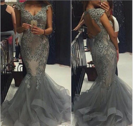 Wholesale Evening Dress Gown Grey - Elegant Grey Organza Mermaid Prom Dresses Scoop Capped Sleeves Backless Formal Evening Gowns 2017 Vestidos Beaded Appliques Party Gowns