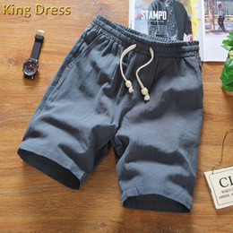 Wholesale flax s - Wholesale-2016 Direct Selling Mid Elastic Waist Loose Casual Solid Quality Summer New Flax Man Blue White Beach Thin Linen Men Shorts