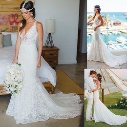 Wholesale Dror Wedding Dresses - Inbal Dror Vintage Lace Boho Country Beach Wedding Dresses 2017 Sexy V-neck Sweep Train Low Back Bohemian Sleeveless Bridal Gowns