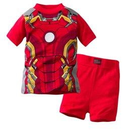 Kinder kurzarm pyjama online-Batman Jungen Mädchen Pyjama Anzug Super Hero Kurzarm Pyjama Kinder Pyjama Kinder Nachtwäsche Kleidung zu Hause Nachthemd frei Schiff