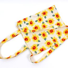 Wholesale Wholesale Sunflower Shopping Bags - New Fashion Casual Tote Women Bag Sunflower Cotton Shoulder bag reusable tote Female Shopping Bags Free Shipping