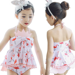 Wholesale Bow Bathing Suits - Girls Swimming Set Cartoon Flamingo Swimwear Suits Girl Sun Bathing Spring Swim Sets Bow Tank Tops Underpant Shorts With Swimming Caps A6945