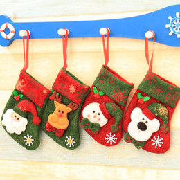 trees decor Coupons - 10*17cm Mini Christmas Socks Stockings Party Xmas Tree Decoration Santa Claus Deer Bear Snowman Candy Gift Bag Decor Festival Ornament