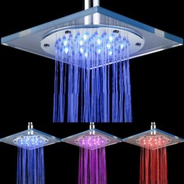 Wholesale Led Wall Faucet - Waterfall Shower Head Glass Faucet Temperature Sensing Colorful LED Lamps Modern Square Bathroom Tap Shower Chrome LED Rainfall
