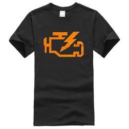 Wholesale Check Shirt Fashion Men - Men's Check Engine Light Shirts Funny Automotive Mechanic Shirt Car Short Sleeve Crew Neck Print Top Tees