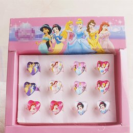 Wholesale Kids Plastic Princess Rings - Wholesale- 12pcs Box Hot Sale Cartoon Princess KT Party Favors Sets ABS Plastic Kid Girls Jewelry Rings Sets party decoration Gifts