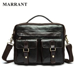 Wholesale Nature Cross - Wholesale- MARRANT Genuine Leather Men Bags Nature Cowhide Leather Male Bag Men's Briefcase Shoulder Bags Man Messenger Cross Body Handbags