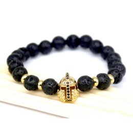 Wholesale European Knight - 2017 Fashion Lava Charm Men's Bracelets Famous High Quality Knight Helmet Braiding Brand Bandage Macrame Strand Beads Bracelet.