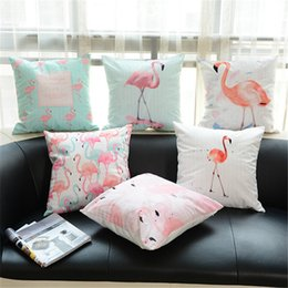 Wholesale Core Manufacturers - Hot sell American style flamingo macaron print super soft cushion cover with no core manufacturer direct sales
