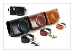 Wholesale Open Cameras - New Deluxe Version PU Leather Camera Case For Panasonic Lumix LX10 L-X10 Camera Bag Cover with Bottom Opening + Camera strap