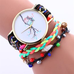 Wholesale Golden Woven Bracelet - Golden Dial OWL design weave dress watches fashion bracelet watch casual ladies rope color woven quartz watches for women