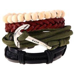 Wholesale Sail Bracelet - Wholesale Retro Multi Layer Braided Wrap Charm Sailing Anchor Cowhide Leather Bracelet Exotic Style Hand-woven Jewelry Set