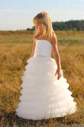 Wholesale Tier Dress For Little Girls - Ruffles Skirt Flower Girl Dress 2017 Louise with Tiers Skirt and Beaded Sash Ball Gown First Communion Dresses for Little Girls Custom Made
