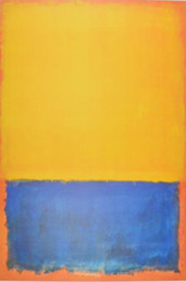 Wholesale Orange Wall Arts - High Quality Untitled Yellow Blue on Orange,Pure Hand Painted Mark Rothko Modern Abstract Wall Art Oil Painting On Canvas.Multi Sizes MR9