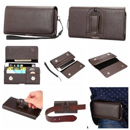 Wholesale Mega Apple - Holster Leather Horizontal Hip For Iphone 7 Plus 6 6S Sony Z5 Z4 X XZ XA,LG V10 K7 Mega 6.3 Universal Card Slot Clip Belt Pouch Cover Case