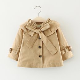 Wholesale Girls Lovely Coats - 2017 autumn lovely Baby Girls Coat Turn-Down Collar Fashion Kids Button Bowknot Girls Tench Coat Baby Outwear Trista