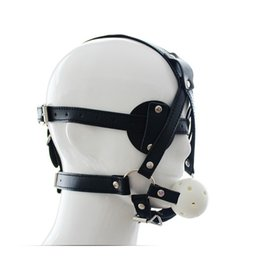 Wholesale Male Sex Toys Masks - Sex Mask Open Mouth Gag Ball men Fetish Slave Bondage Hood Mask Adult Products Leather Mouth Gag Harness Sex Toys For Gay Couples