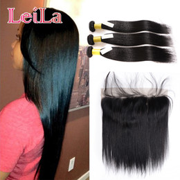 Wholesale Mixed Hair - Ear To Ear 13x4 Lace Frontal Closure With 3 Bundles Silky Straight Malaysian Unprocessed Virgin Human Hair With Frontal