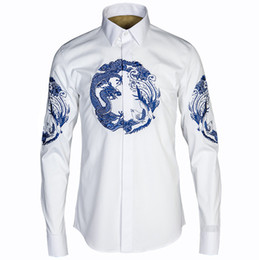 Wholesale Mens Dragon Dress Shirts - Wholesale- Chinese Dragon Printed Shirt Men 2016 Brand Design Chemise Homme Casual Slim Fit Long Sleeve Mens Dress Shirts Camisas Masculina