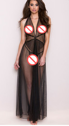 Wholesale Long Sleeve Black Nightgown - Sexy Black Mesh See Through Babydoll Women Backless Nightdress Ankle Length Sleepwear Charming Ladies Long Slips