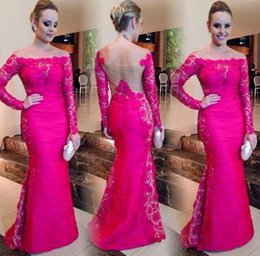 Wholesale Mermaid Prom Dresses Beauty - 2017 Fuchsia Evening Gowns Off The Shoulder Trumpet Lace Long Sleeves Prom Dresses Beauty Fishtail Special Occasion Dress