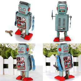 Wholesale Tin Toy Retro - Vintage Mechanical Clockwork Wind Up Toys Walking Radar Robot Tin Toy Retro Vintage Gift Kids Children Toys With Key