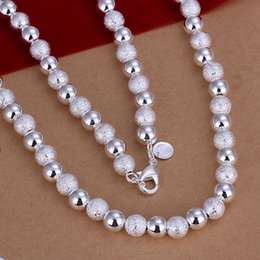 Wholesale Vintage Glass Bead Chain - Wholesale- 2017 hot women men 925 sterling silver jewelry silver necklace Frosted glass beads vintage choker necklaces colliers perles N086