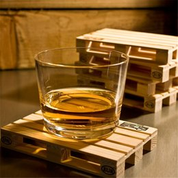 Wholesale wood hot pads - 4pcs set Rectangle Mini Wooden Pallet Coaster Set Whiskey Wine Glass Cup Mat Pad Hot Cold Drink Wood Table Mat Bar Tool IC878076