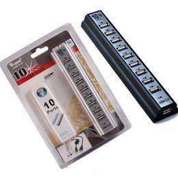 hub usb para laptop Rebajas Nuevo USB 2.0 HUB 480Mbps Hi-Speed 10 Puertos Cable Adaptador de Extensión para Keyborard PC Portátil con Paquete Al Por Menor DHL Libre OTH340