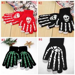 Wholesale Winter Skeleton Gloves - Skeleton Touch Screen Gloves Halloween Smart Phone Tablet Touch Screen Gloves Winter Mittens Warm Full Finger Skull Gloves 50pcs OOA2961