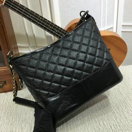 Wholesale White Leather Hobo - 2017 New Calfskin Black Gold And Silver Chain Female Hobo Bags Women Stray Purse Handbags Luxury Brand Famous Sac Design Fashion
