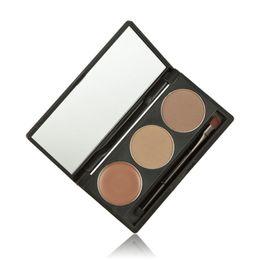 Wholesale Eyebrow Sponge Brush - Wholesale-2016 New Women Makeup 3 Colors Eyebrow Powder Concealer Palette With Mirror Eyebrow Brush Natural Sponge Material Anne