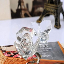 Wholesale Romantic Items - Wedding Party Valentine gift Romantic Crystal Rose Flower with three pieces leaves Crystal gift items 50pcs wholesale