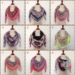 Wholesale New Hijab Scarves - wholesale hot sale High new fashion 2017 Spring Summer patchwork printed square hijab stole scarf with pom poms