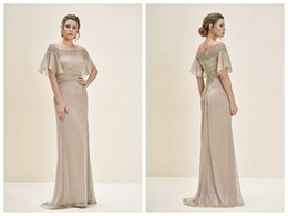 Wholesale Jasmine Mother Bride Dresses - 2018 Mother of the Bride Dresses Wedding Guest Dress Jasmine Mother of the Groom Dresses Champagne Chiffon Applique Off the Shoulder Ruched