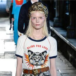 Wholesale Shirt Puff Sleeves - 2017 summer fashion women's tops short sleeve kitty tee tops luxury women's brand designer t-shirts runway tees white