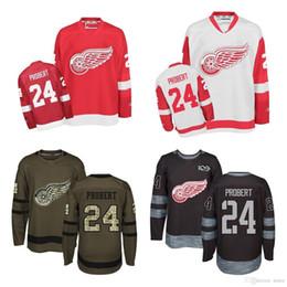 480acaac9 Venta al por mayor 2016 nuevo Detroit Red Wings 24 Bob Probert rojo blanco  negro marrón 100% cosido Jerseys de hockey sobre hielo venta caliente