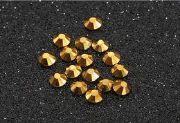 Wholesale Hotfix Ss3 Rhinestones - Super shiny golden 1440pc set SS3-SS30 Crystal Glass AA Nail Art Rhinestones Flat gray Non Hotfix Glue on Nails art decorations