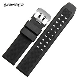 Wholesale watch strap metal - JAWODER Watchband Soft Silicone Rubber Men Black 23mm Sport Diving Watch band Strap Silver Black Metal Buckle For Luminox Accessories