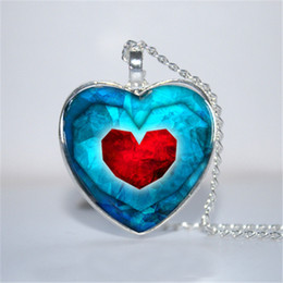 Wholesale Legend Zelda Link - 10pcs lot Piece of Heart Pendant, Legend of Zelda Inspired Heart Necklace Glass Photo Cabochon Necklace