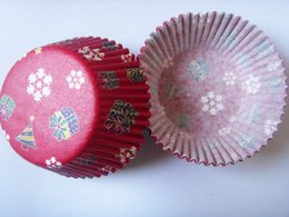 Wholesale Cupcake Red Liner - Wholesale- On Promotion 100 pcs Red snow Cake Cup cupcake case cupcake liner paper baking cup Cake cup box christmas decoration party