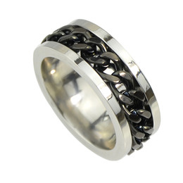 Wholesale Stone Rings Designs Men - New Coming Gold-Color Silver Color Black With Chain Design Finger Brand Rings for Women and Men New Fashion Jewelry